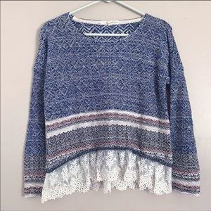 Rewind | Woven striped sweater lace extension